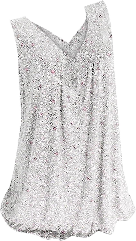 Womens Tops Women's Sleeveless Summer Casual Tops V-Neck Printing Sleeveless Vest Tops Juniors Girls
