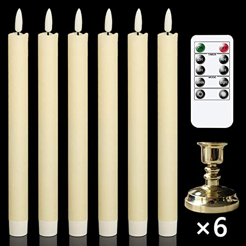 new arrival GenSwin Flameless Taper Candles with Remote Timer, Battery Operated Flickering Real Wax LED Window popular Candles online sale with Removable Gold Candle Holders for Wedding/Party/Birthday Decor(Pack of 6, Ivory) outlet sale