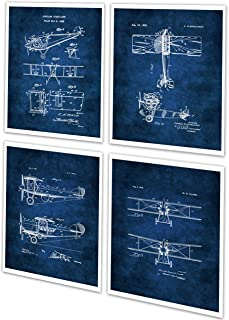 Vintage Biplane Wall Art Set of 4 Unframed Blue Prints Aviation Biplane Room Decor Pilot Gift Ideas Patents_Aviation_Blue4A