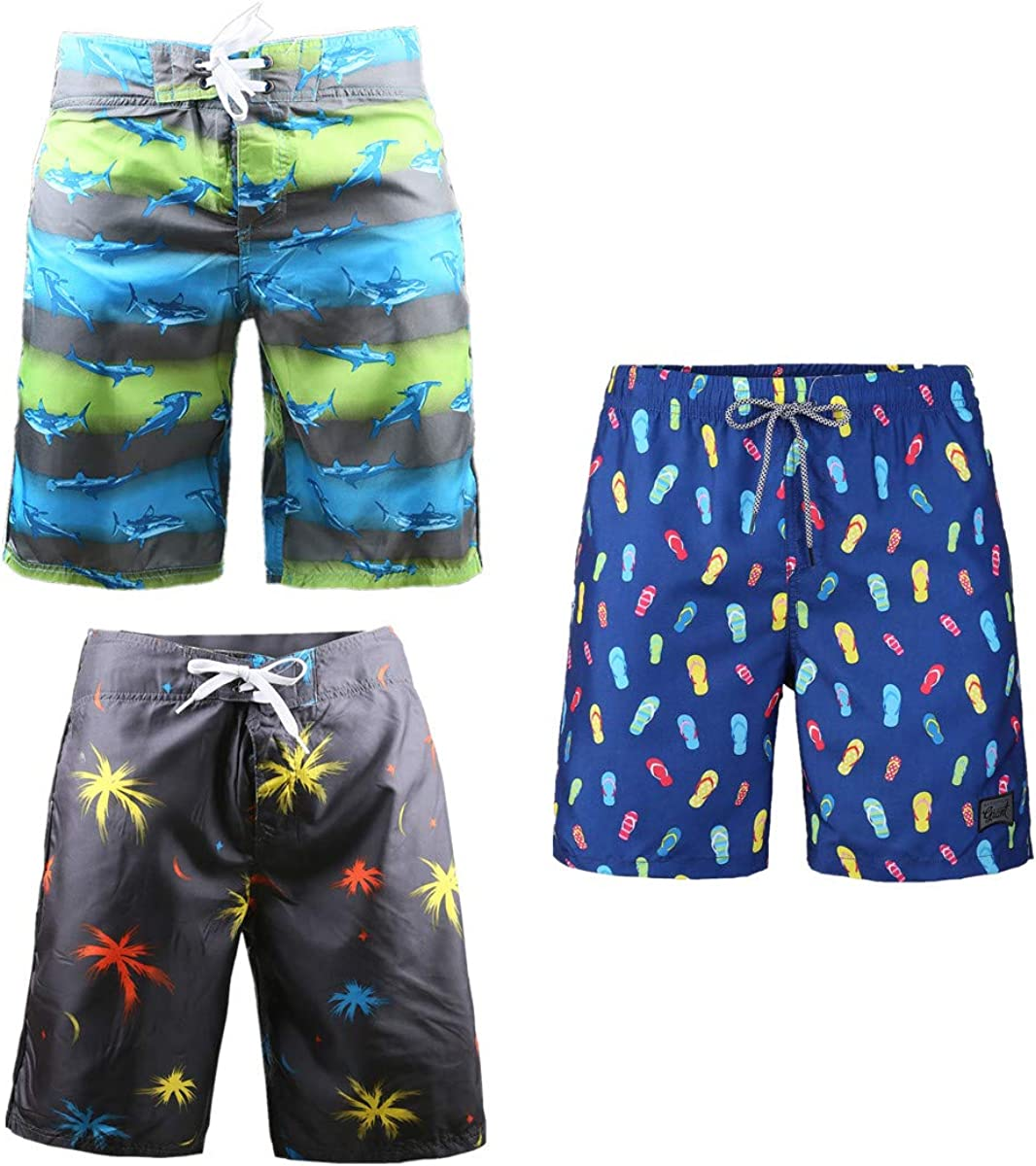 Beautiful Giant 3-Pack Men's Board Shorts with Drawstring Summer Blue Soft Comfy Breathable Swim