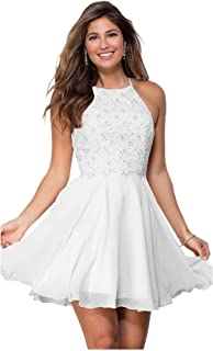 Zhongde Women's Halter Open Back Beaded Formal Prom Lace
