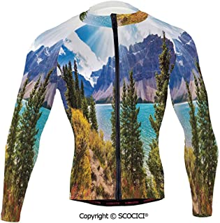 Cycling Jersey Long Sleeves Men,National Park Banff Canadian Rockies Mountain Tr