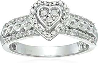 Sterling Silver Diamond Heart Shape Bridal Ring (1/2 cttw)