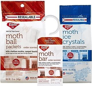 Enoz Moth Preventives Bundle Pack - Cedar Moth Ball Packets, Cedar Moth Bar and Moth Ice Crystals (1)
