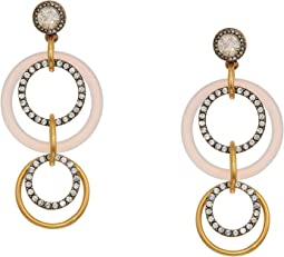 Crystal and Gold Circle Drop Earrings