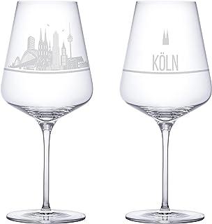I LOVE Köln Weingläser 2er Set | Weinglas mit Gravur der K