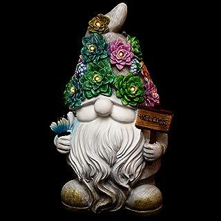 FRCOLOR Garden Gnome Statue Resin Gnome Figurine Solar Powered LED Outdoor Decor Garden Light