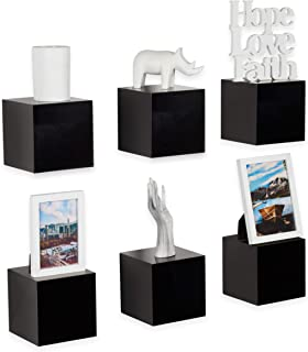 brightmaison Decorative Square Wall Cubes Display – 6 Set Shelf – Glossy Floating Block Shelves