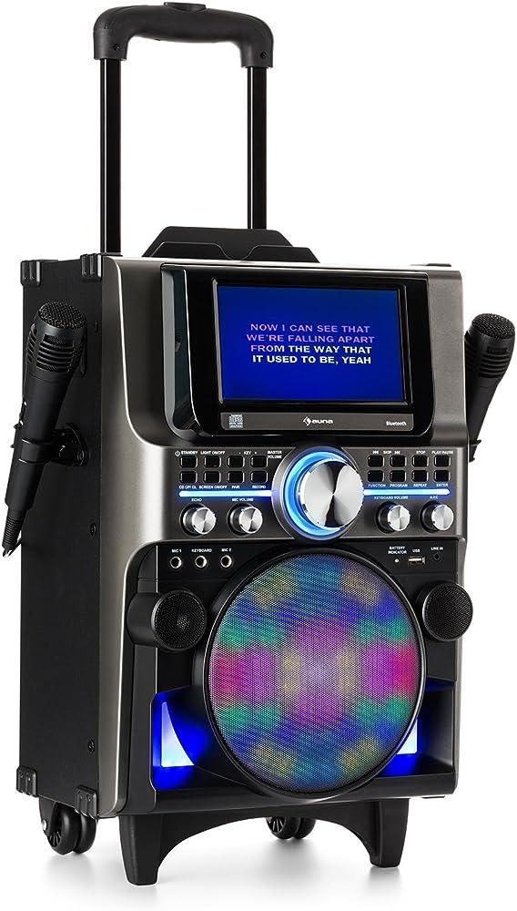 Auna disgo box 360 - sistemi per karaoke, sistema audio per feste, lettore cd, schermo tft da 7