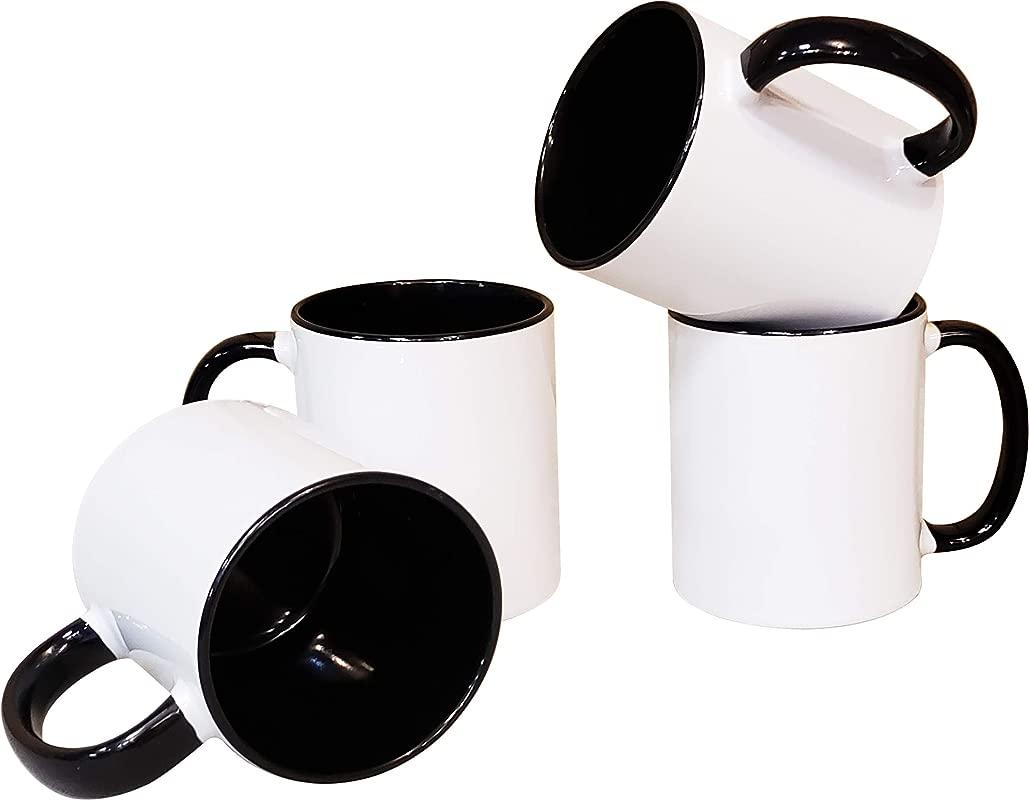 Mug Set Of 4 Pieces 11 Oz Ceramic Coffee Tea Mugs All Blank White And Black Inside With Black Handle 4 Set Black
