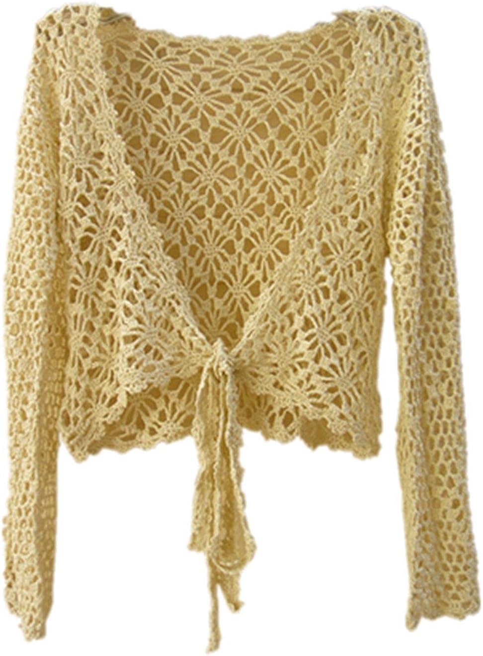 tinacrochetstudio Beige Crop Top Long Sleeve Women Crochet Cardigan Shrug