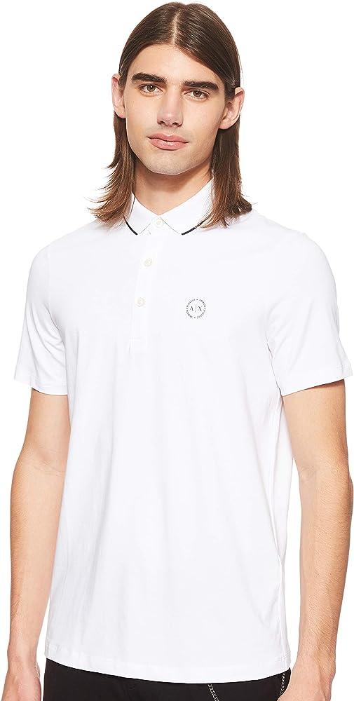 Armani exchange polo, maglietta per  uomo a maniche corte, 95% cotone, 5% elastan, bianca 8NZF70Z8M9ZA