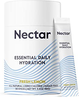 Nectar Electrolyte Hydration Powder Packets, Fresh Lemon 30pk - All Natural - No Sugar, Calories or Carbs – Daily Drink Mi...