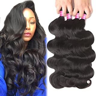 Brazilian Human Hair Body Wave 4 Bundles 10A Brazilian Hair Bundles 18 20 22 24inch Brazilian Body Wave Virgin Hair Bundle Deals Unprocessed Remy Human Hair Weaves Brazilian Hair Extensions