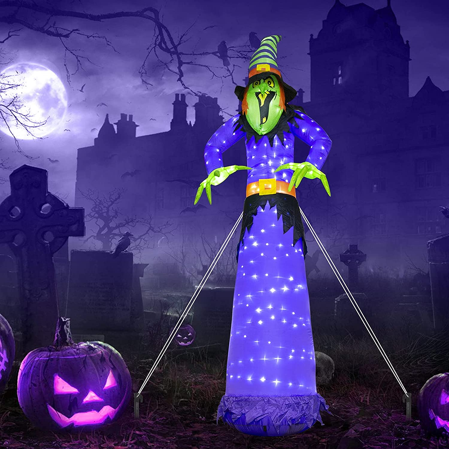 EAMBRITE 10FT Halloween Inflatable 5 ☆ popular Witch Built-in with 248LT Coo Limited price