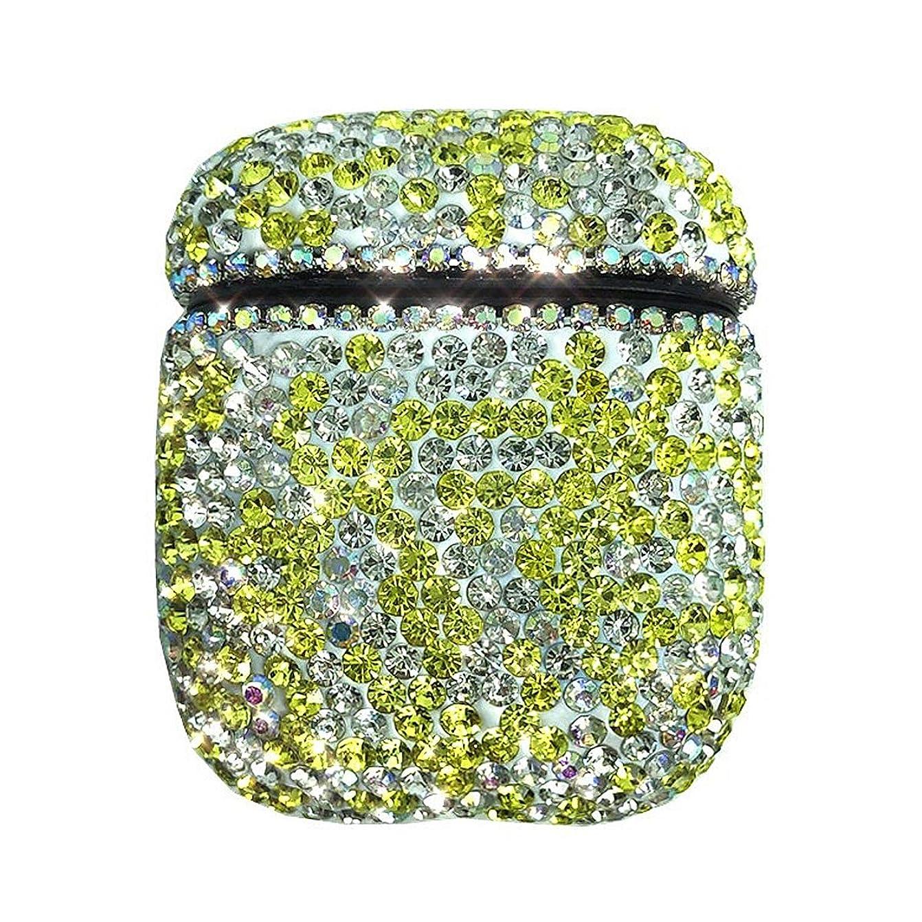 転用酸素殺人キラキラクリスタルダイヤモンドエアポッドケース、手作りの高級ラインストーン保護充電カバー用エアポッド2と1イヤホンアクセサリーかわいい女の子,Yellow