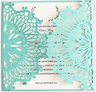 Rustic Wedding Invitation kit White Silver Grey Blue Pink Cut Bridal Shower Invitation Covers 50pcs/lot,Tiffany Blue