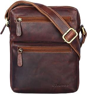 """STILORD Moritz"""" Kleine Ledertasche Umhängetasche braun Vintage Messenger Bag für Herren mit vielen Fächern für 10.1 Zoll Tablet iPad aus echtem Büffel-Leder, Farbe:Cognac - Dunkelbraun"""