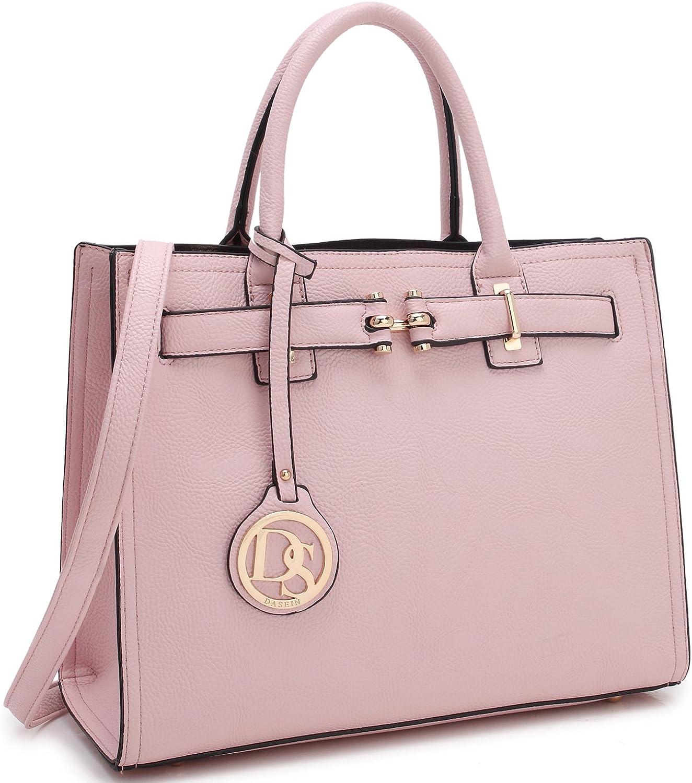 Dasein Medium Top Handle Handbag for Women Designer Satchel Purse Structured Shoulder Bag (1pink)