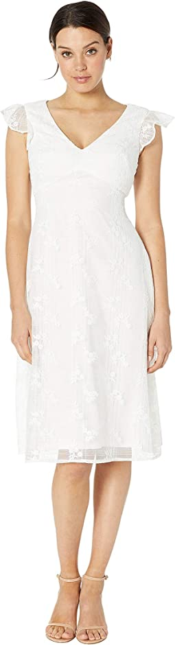 Adrianna Papell Floral Embroidered Sheath Dress Cassis