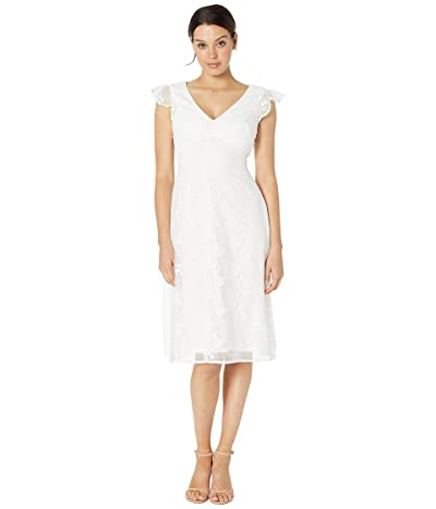 Adrianna Papell Embroidered A-Line Dress (Ivory) Women