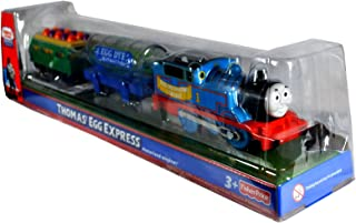 Thomas and Friends Easter Exclusive Trackmaster Motorized Railway Battery Powered Tank Engine 3 Pack Train Set - THOMAS' EGG EXPRESS with Egg Dye Factory Tank Car and Green Wagon Filled with