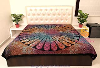 Sarjana Handicrafts Indian King Size Cotton Flat Bed Sheet Psychedelic Tie Dyed Bedspread Bedding (Multicolored Tie Dyed)