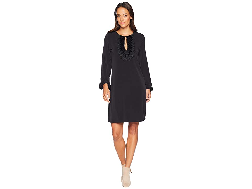 MICHAEL Michael Kors Lace Neckline Blouson Dress (Black) Women