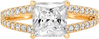 2.42 ct Princess Cut Solitaire with Accent split shank Best Quality Moissanite Ideal VVS1 D & Simulated Diamond Engagement Promise Statement Anniversary Bridal Wedding Ring Solid 14k Yellow Gold