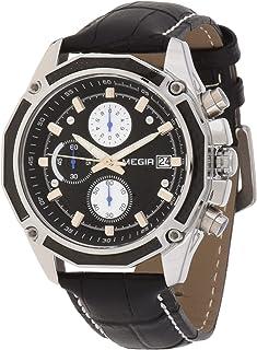 ساعة كوارتز للرجال من ميجر بشاشة عرض كرونوغراف وسوار من الجلد - طراز 2015G