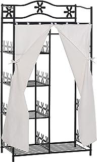 HOMCOM Armoire penderie Multi rangements 5 étagères 84L x 42l x 159H cm métal Noir Motif Fleurs 2 Rideaux Blanc
