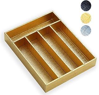 Berglander Range Couvert en Bois avec Cuir doré, Organisateur tiroir, Plateaux à Couverts, tiroir Rangement,Organisateur d...