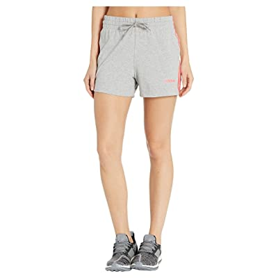 adidas Essential 3-Stripes Shorts (Medium Grey Heather/Prism Pink) Women