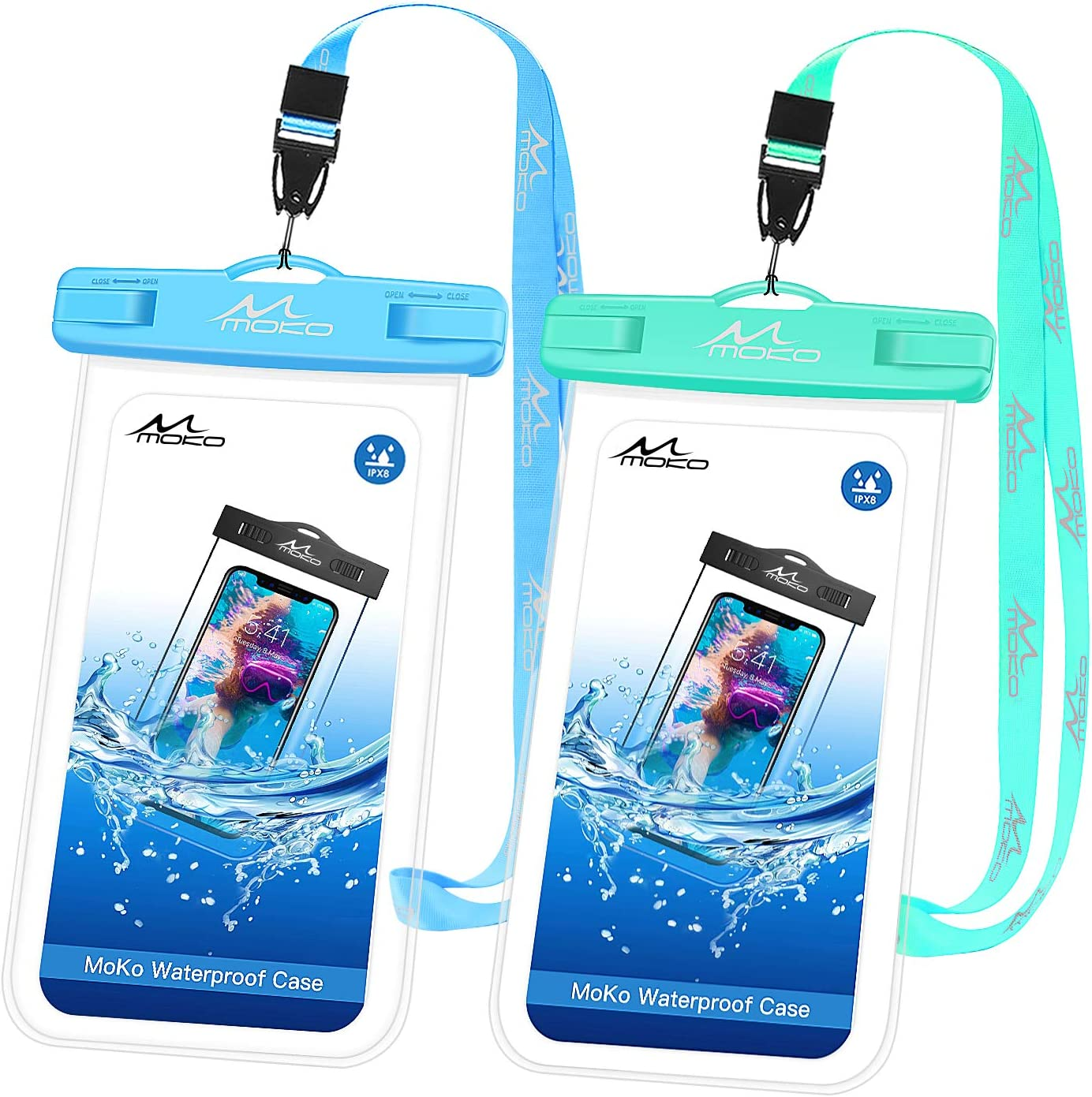MoKo Waterproof Phone Pouch [2 Pack], Underwater Phone Case Dry Bag with Lanyard Compatible with iPhone 13/13 Pro Max/iPhone 12/12 Pro Max/11 Pro Max, X/Xr/Xs Max, 8/7, Samsung S21/S10/S9, Note 10/9/8
