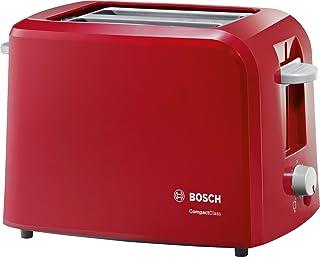 Bosch Compact Class TAT3A014 - Tostador, 980 W, 2 Ranuras extra anchas, color Rojo