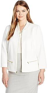 Nine West Women's Plus Size Textured Knit Jewel Neck Zip Front Jacket