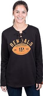 Icer Brands NFL Cincinnati Bengals Women's Fleece Sweatshirt Lace Long Sleeve Shirt, Medium, Black