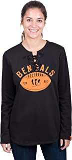Icer Brands NFL Cincinnati Bengals Women's Fleece Sweatshirt Lace Long Sleeve Shirt, Small, Black
