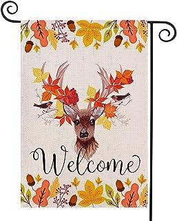 WEOUGR Autumn Leaf Welcome Garden Flag Double Sided Burlap Fall Garden Flag, Deer Flags,Seasonal Fall Outdoor Funny Decorative Flags for Yard Outdoor Decor, 12.5 x 18.5 inch