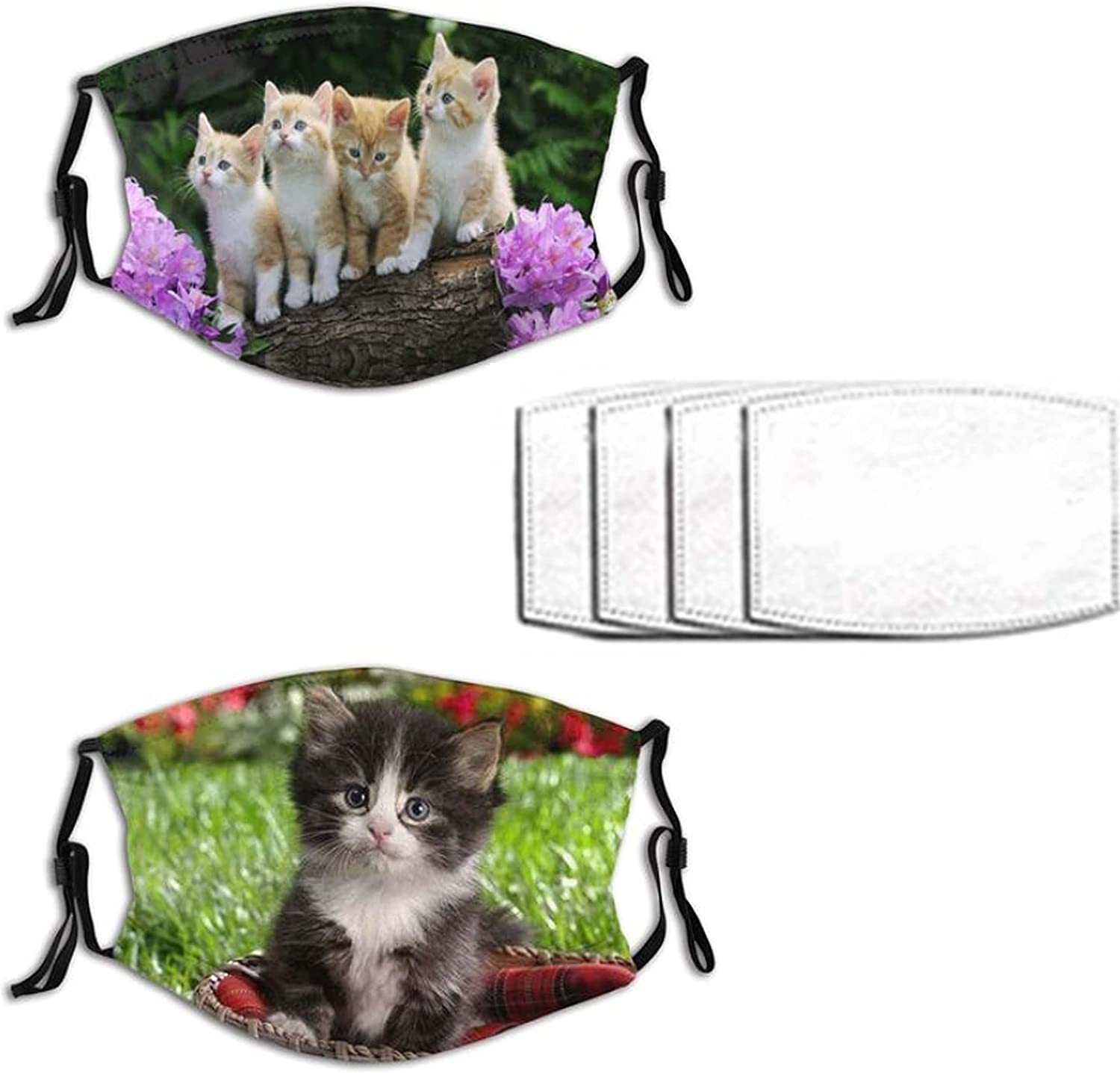 2pcs Cute Cat Face Mask for Men Women Washable Breathable Bandanas Balaclava with 4 Filters