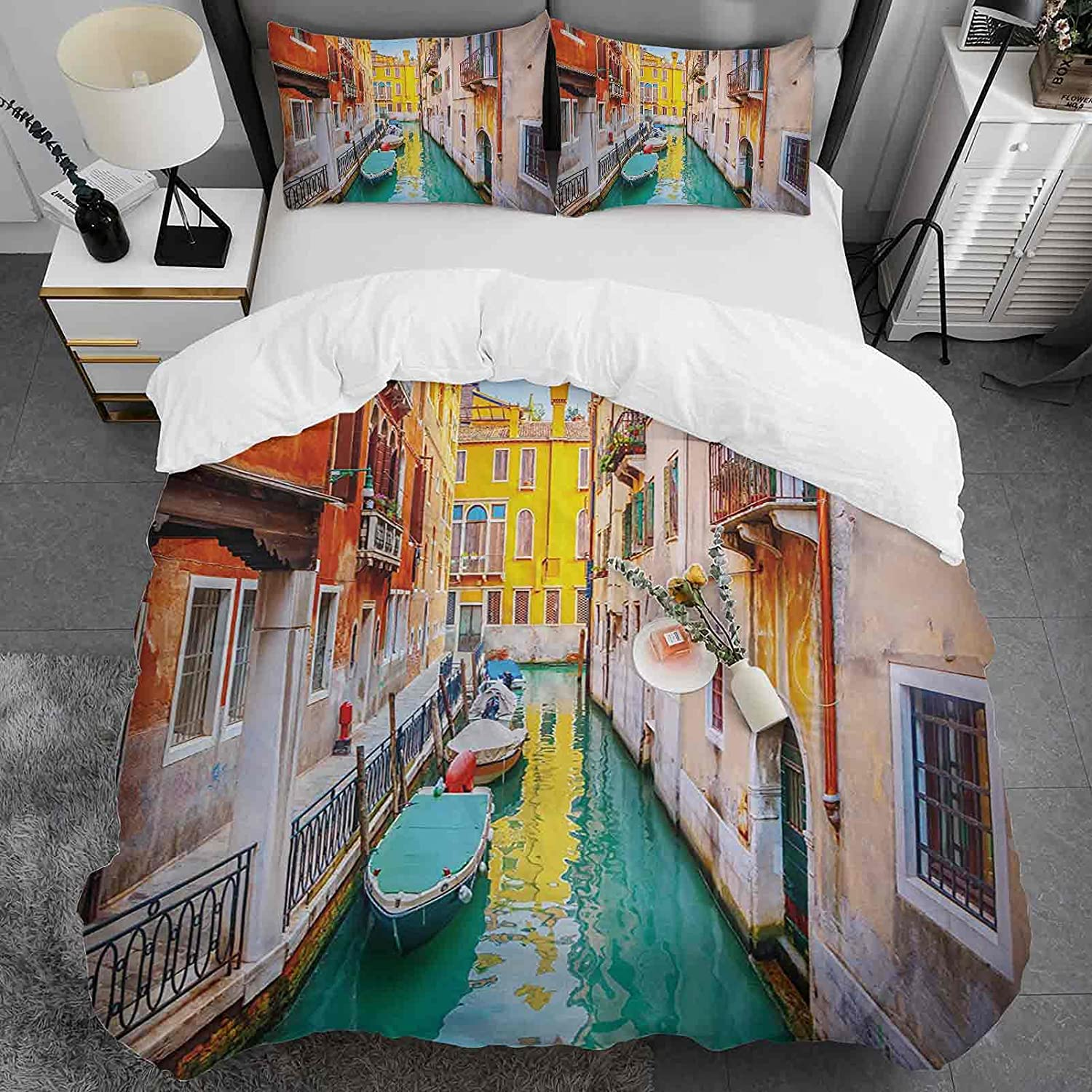 Custom 40% OFF Cheap Sale Duvet Cover Twin Size Venice Pattern 100% Cotton Chicago Mall Natural