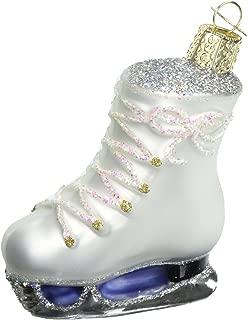 Noble Gems Kurt Adler 4-1//4-Inch Glass White Ice Skate Ornament