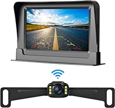 LeeKooLuu HD 720P Wireless Backup Camera and 4.3'' Monitor System for Cars/Pickup/ATVs/SUVs/UTVs/Can-Am IP69 Waterproof 6 LED Light Night Vision HD Color Rear/Front View Camera with Guide Lines On/Off
