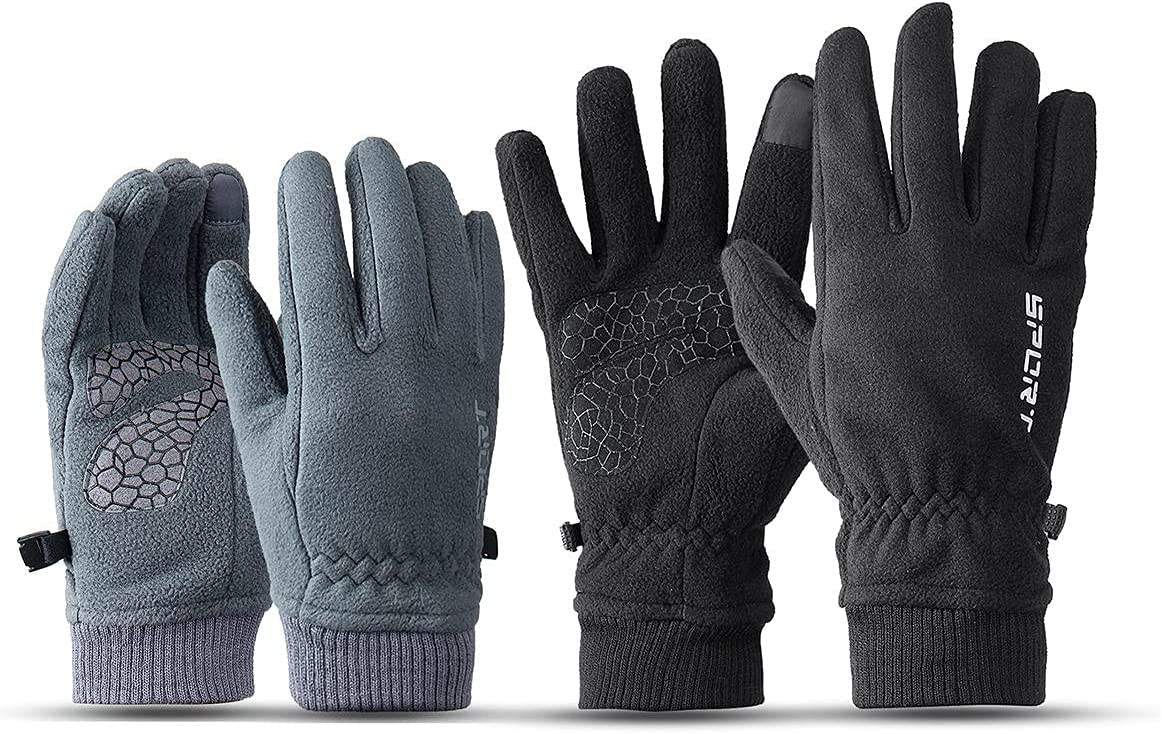 Lupovin-Keep Warm Men's and Women's Gloves Winter Quick Windproof Raincoat Warmer Touch Screen Gloves Non-Slip (Color : Gray, Size : Female)