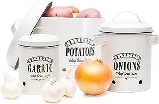 Set granrosi Bonbonnière - Pot, pot à oignons et pot à ail pommes au design vintage pour un rangement élégant et de longue...