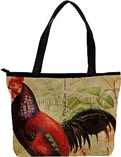 Lorvies - Borsa a tracolla da donna, stile vintage con gallina di gallina