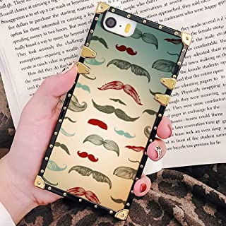 Square Case for iPhone 5/5S/SE, Soft TPU Protective Fashion Metal Decoration Cover for Lady Girls Men Beard Mustache Beard Formation