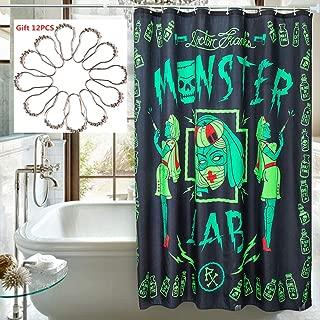 JAIN.C Halloween Shower Curtain Set Fabric Bathroom Decor Set Waterproof Long Curtains 72