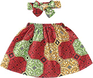 YOUNGER STAR Toddler Kids Baby Girl African Ethnic Style Printed Tradition Short Skirt +Headband 2Pcs Sets
