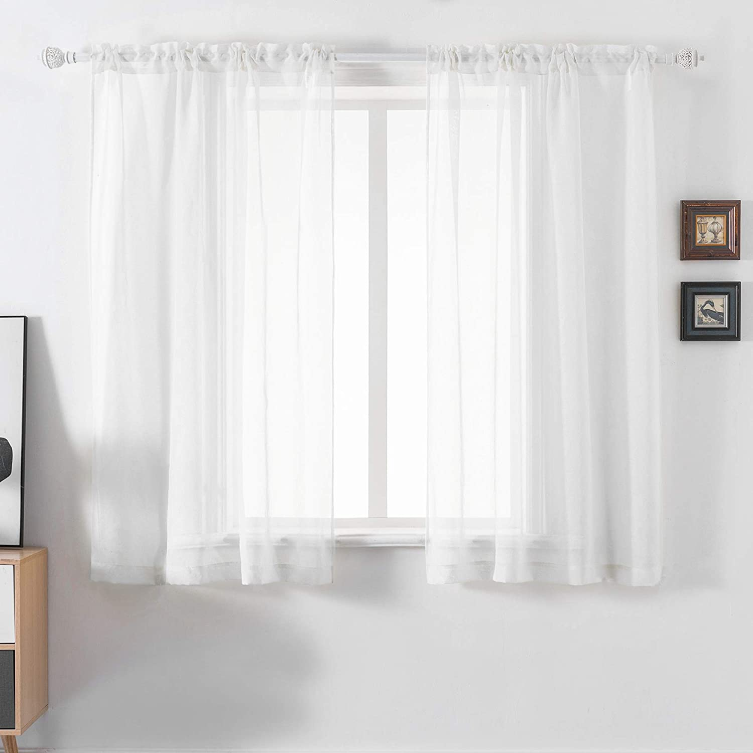 DUALIFE White Sheer Curtains 54 Max 40% OFF Inch Ranking TOP10 Length Faux Shee Linen Semi